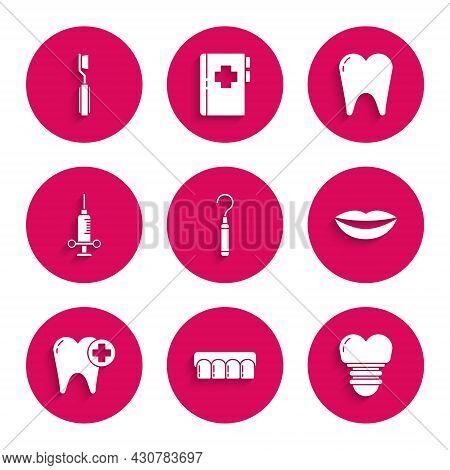 Set Dental Explorer Scaler For Teeth, Dentures Model, Implant, Smiling Lips, Tooth, Medical Syringe,
