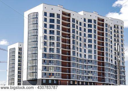 Multi-storey Modern Residential Building. Housing Construction. Residential Fund. Sleeping Residenti