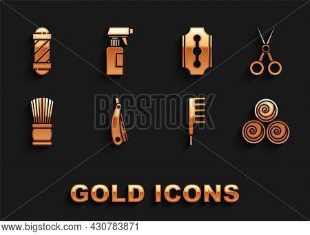 Set Straight Razor, Scissors Hairdresser, Towel Rolls, Hairbrush, Shaving, Blade, Classic Barber Sho