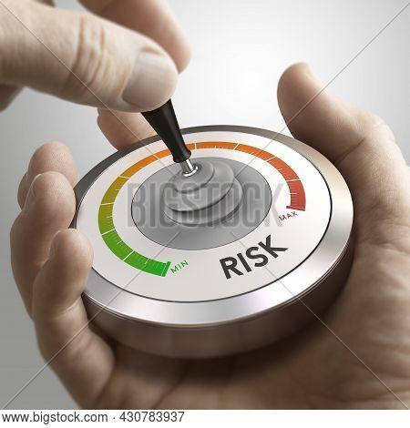 Man Hand Using A Conceptual Joystick Over Grey Background. Strategic Risk Management Or Decision Mak