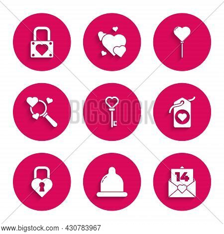 Set Key In Heart Shape, Condom, Envelope With Valentine, Heart Tag, Castle The Of, Search And Love,