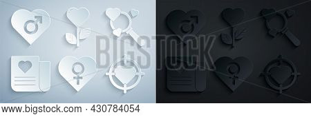 Set Heart With Female Gender, Search Heart And Love, Envelope Valentine, The Center Of Darts Target