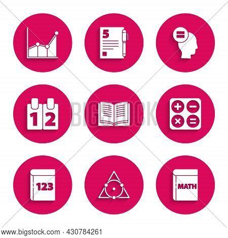 Set Open Book, Triangle Math, Book With Word Mathematics, Calculator, Calendar, Calculation And Grap