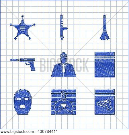 Set Lawyer, Attorney, Jurist, Suspect Criminal, Evidence Bag And Pistol Gun, Plastic With Ziplock, T
