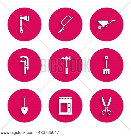 Set Claw Hammer, Cement Bag, Scissors, Snow Shovel, Shovel, Clamp Tool, Wheelbarrow And Wooden Axe I