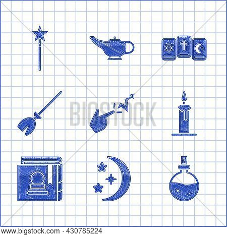 Set Spell, Moon And Stars, Bottle With Love Potion, Burning Candle In Candlestick, Ancient Magic Boo