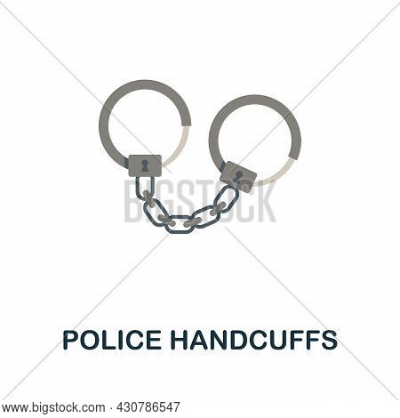 Police Handcuffs Icon. Flat Sign Element From Law Collection. Creative Police Handcuffs Icon For Web
