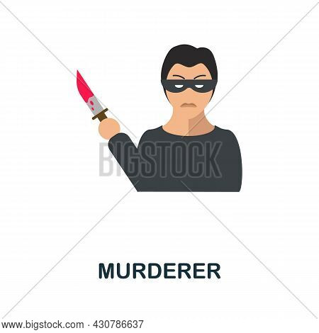 Murderer Icon. Flat Sign Element From Law Collection. Creative Murderer Icon For Web Design, Templat