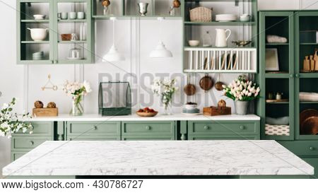 Clean And Empty Marble Countertop, Green Vintage Kitchen Furniture With Lots Of Flowers And Bowl Of