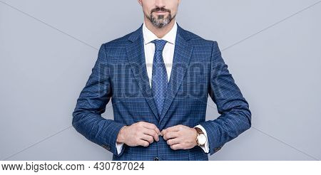 Successful Man In Businesslike Suit. Entrepreneur Or Manager. Male Formal Fashion.