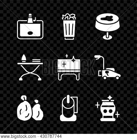 Set Washbasin, Full Trash Can, Stain On The Tablecloth, Garbage Bag, Toilet Paper Roll, Clean Vase,