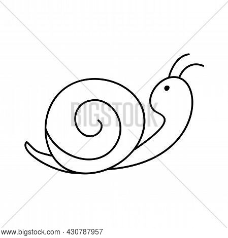 Snail To Be Colored. Coloring Book To Educate Kids. Learn Colors. Visual Educational Game. Easy Kid