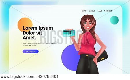 Woman Holding Debit Or Credit Card Electronic Wireless Payment Digital Transaction Online Shopping M