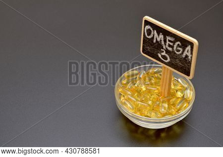 Fish Oil Pills, Omega 3 Lettering And Copy Space