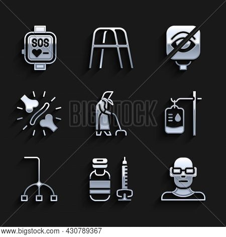 Set Grandmother, Syringe, Poor Eyesight, Iv Bag, Walking Stick Cane, Joint Pain, Knee Pain, Blindnes
