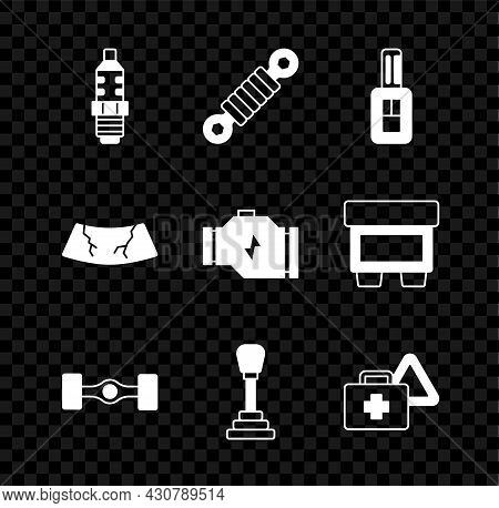 Set Car Spark Plug, Shock Absorber, Key With Remote, Chassis Car, Gear Shifter, First Aid Kit And Wa