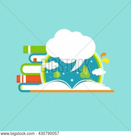 Book Stack With Open Book, Rainbow And White Speech Bubble. Isolated On Powder Blue Background. Flat