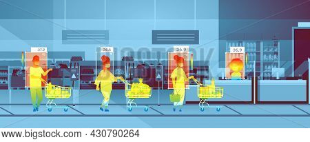 Detecting Elevated Body Temperature Of People Walking In Supermarket Checking By Non-contact Thermal