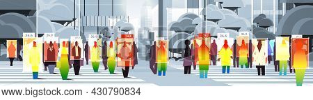 Detecting Elevated Body Temperature Of Businesspeople Walking On City Street Checking By Non-contact