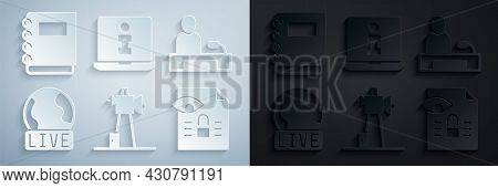 Set Antenna, Television Report, Live, Journalistic Investigation, Information And Notebook Icon. Vec