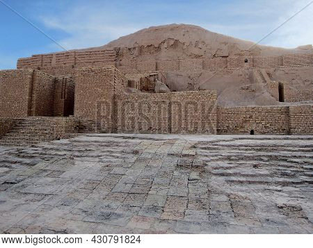 Close View On Remains Of Ziggurat Chogha Zanbil & Its Protection Wall, Shush, Iran. Pyramid Built By
