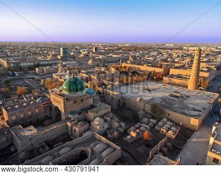 Aerial View On Old City Khiva, Uzbekistan, From Islam Khodja Minaret. Building On Front Is Pahlavan