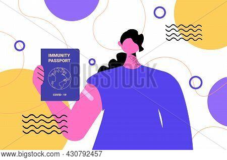 Woman Holding Global Immunity Passport Risk Free Covid-19 Re-infection Pcr Certificate Coronavirus I