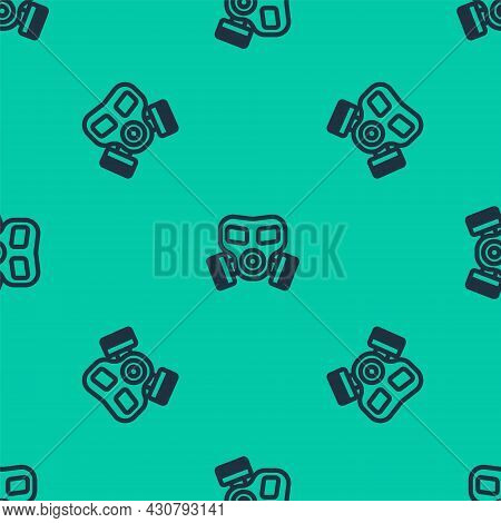 Blue Line Gas Mask Icon Isolated Seamless Pattern On Green Background. Respirator Sign. Vector