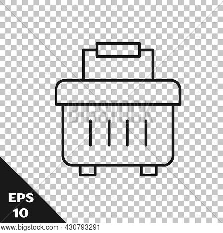 Black Line Toolbox Icon Isolated On Transparent Background. Tool Box Sign. Vector