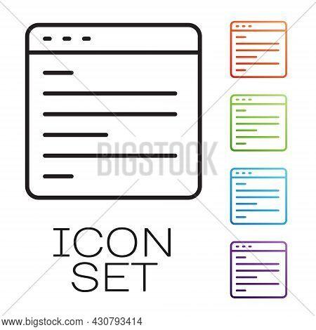 Black Line Computer Api Interface Icon Isolated On White Background. Application Programming Interfa