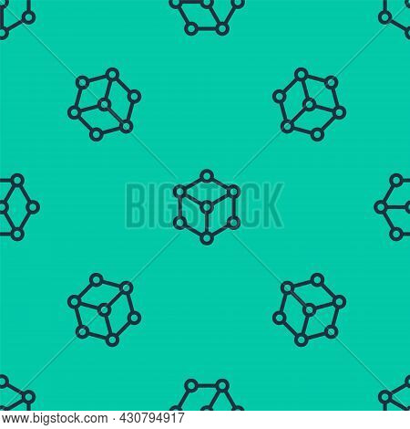 Blue Line Molecule Icon Isolated Seamless Pattern On Green Background. Structure Of Molecules In Che