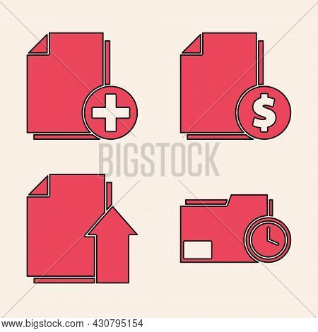 Set Document Folder With Clock, Add New File, Finance Document And Upload File Document Icon. Vector