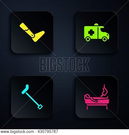 Set Patient With Broken Leg, Prosthesis, Walking Stick Cane And Emergency Car. Black Square Button.