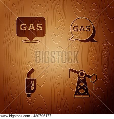 Set Oil Pump Or Pump Jack, Location And Gas Station, Gasoline Nozzle And On Wooden Background. Vecto