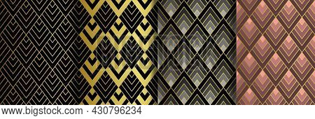 Art Deco Golden Seamless Patterns Set. Gatsby Luxury Retro Backgrounds