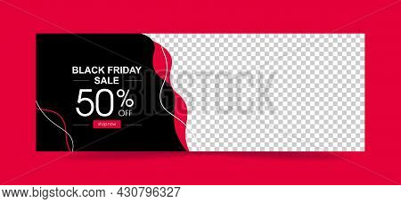 Poster Black Friday Sale. With 50 Percent And Button. Vector Template Banner.