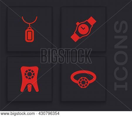 Set Diamond Engagement Ring, Pendant Necklace, Wrist Watch And Tooth With Diamond Icon. Vector