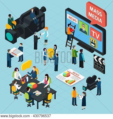 Mass Media  Isometric Design Concept Set With Journalists Preparing News Materials Operators Working