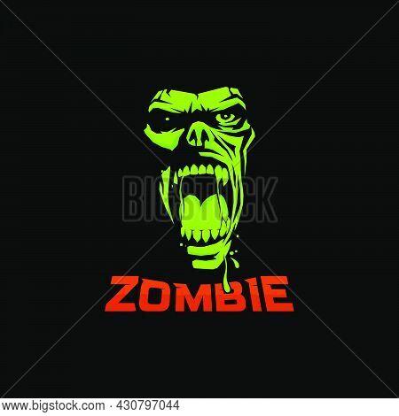Illustration Scream Zombie Face On Dark Background