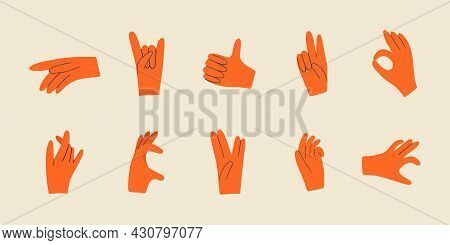 Set With Various Hands Gestures. Different Gestures, Pointing Finger. Trendy Hand Drawn Colored Tren