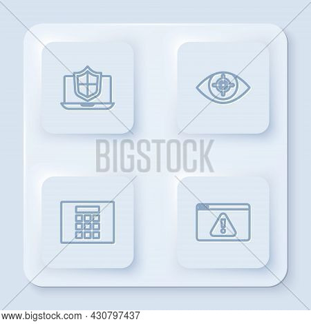 Set Line Laptop Protected With Shield, Eye Scan, Password Protection And Browser Exclamation Mark. W