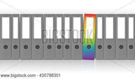 Ring Binders, Gray Unlabeled Set With One Outstanding Rainbow Colored Leaf Binder For Happy Office W