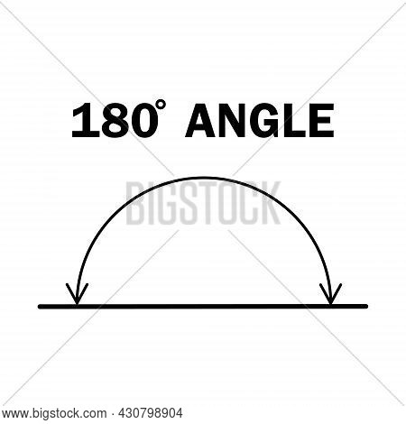 180 Degree Angle. Geometric Mathematical One Hundred And Eighty Degrees Angle With Arrow Vector Icon