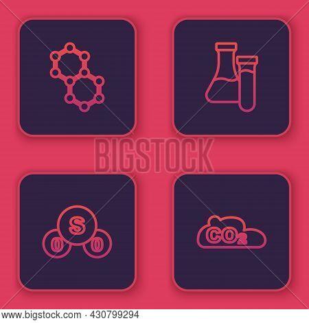 Set Line Molecule, Sulfur Dioxide So2, Test Tube And Co2 Emissions In Cloud. Blue Square Button. Vec