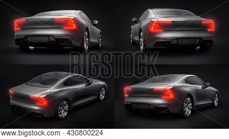 3d Illustration. Concept Car Sports Premium Coupe. Plug-in Hybrid. Technologies Of Eco-friendly Tran