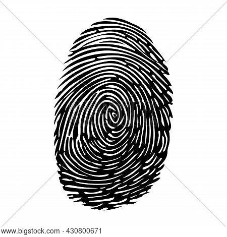 Vector Finger Print. Fingerprint Id Icon. Black Thumb Fingerprint Isolated On White Background. Touc