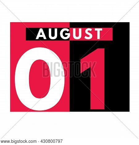 August 1 . Modern Daily Calendar Icon .date ,day, Month .calendar For The Month Of August