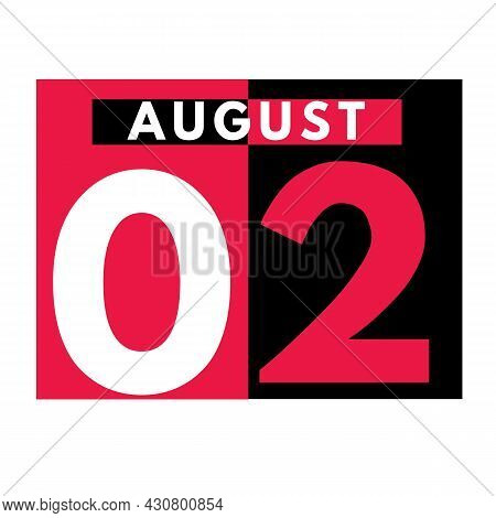 August 2 . Modern Daily Calendar Icon .date ,day, Month .calendar For The Month Of August