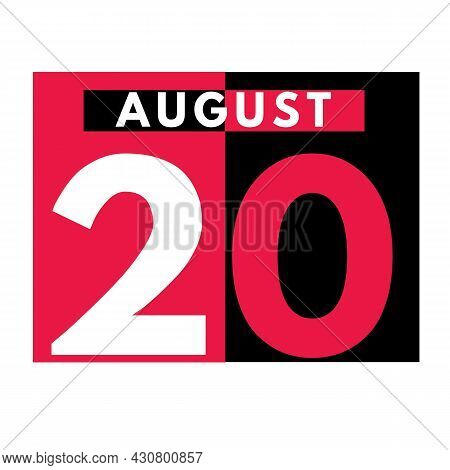 August 20 . Modern Daily Calendar Icon .date ,day, Month .calendar For The Month Of August