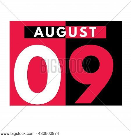August 9 . Modern Daily Calendar Icon .date ,day, Month .calendar For The Month Of August